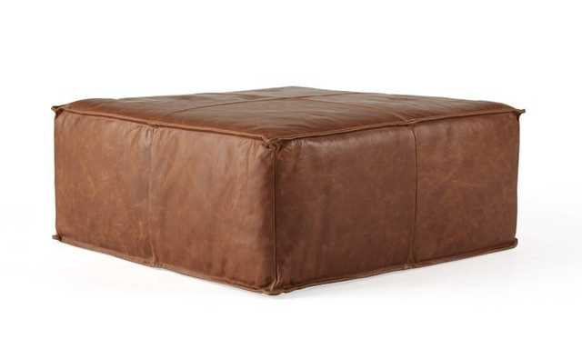Brown Lyle Mid Century Modern Leather Ottoman - Academy Cuero - Joybird