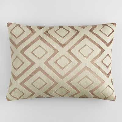 Copper Diamond Embroidered Velvet Lumbar Pillow: Brown by World Market - World Market/Cost Plus