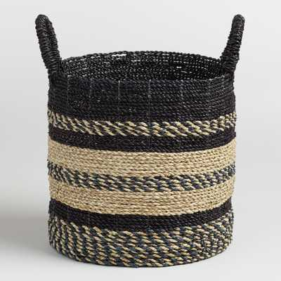 Medium Black and Natural Seagrass Calista Tote Basket by World Market - World Market/Cost Plus