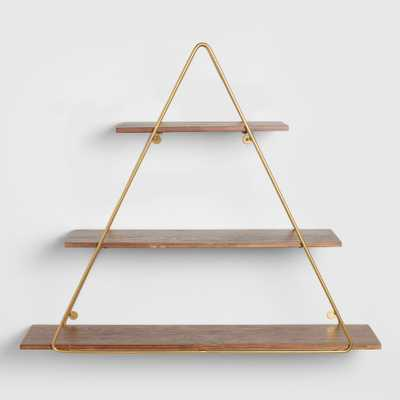 Wood and Gold Triangle Wall Shelf by World Market - World Market/Cost Plus