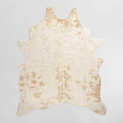 """Gold Printed Faux Cowhide Area Rug - Polyester - 5Ftx6Ft7"""" by World Market 5Ftx6Ft7"""" - World Market/Cost Plus"""