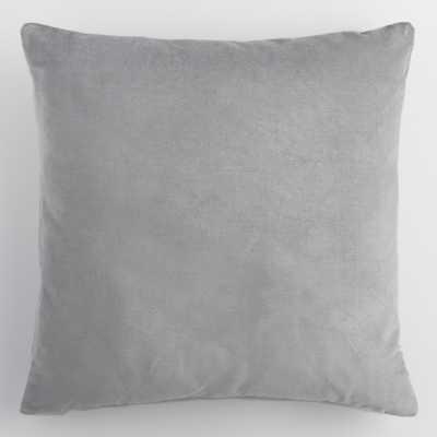 "Gray Velvet Throw Pillow - 18"" by World Market 18"" - World Market/Cost Plus"