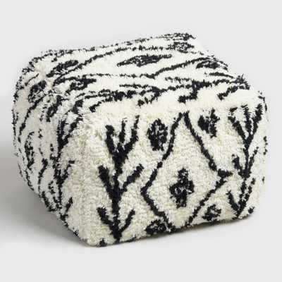Black and White Shag Wool Pouf: Black/White by World Market - World Market/Cost Plus