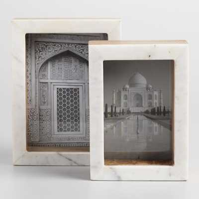 "Standing Marble Tabletop Frames: White - 5""x7"" by World Market 5""x7"" - World Market/Cost Plus"