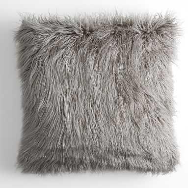 Faux Fur Mongolian Euro Pillow Cover, 26x26, Light Gray - Pottery Barn Teen