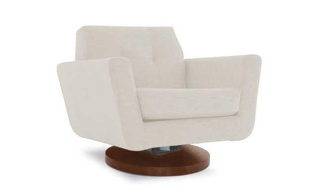 White Hughes Mid Century Modern Swivel Chair - Tussah Snow - Mocha - Joybird