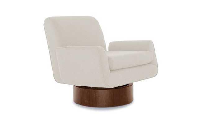 White Bingham Mid Century Modern Swivel Chair - Tussah Snow - Mocha - Joybird