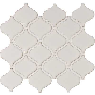 Bianco Arabesque 9.84 in. x 10.63 in. x 6 mm Glazed Ceramic Mesh-Mounted Mosaic Tile - Home Depot