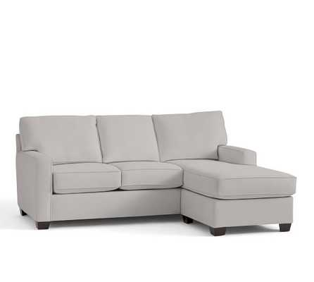 BUCHANAN SQUARE ARM UPHOLSTERED SOFA WITH REVERSIBLE CHAISE SECTIONAL, ORGANIC COTTON Cotton Basketweave, Light Gray - Pottery Barn