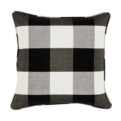 "Buffalo Check Pillow - Black - 20"" Sq - Feather/Down insert - Ballard Designs"