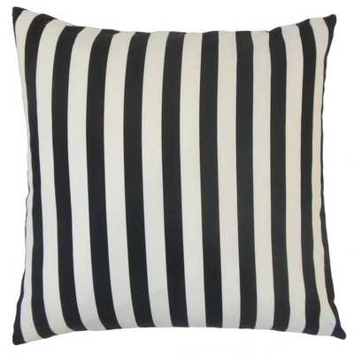 Tameron Stripes Pillow Black 20x20 with insert - Linen & Seam