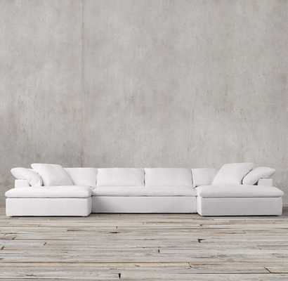 CLOUD TRACK ARM ARMLESS SOFA - natural- washed belgian linen - RH
