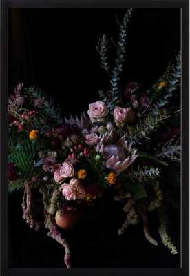 Extravagant Floral Featuring King Protea, no mat, black wood frame - Artfully Walls