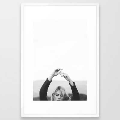 HANDS IN THE AIR - FRAMED ART PRINT VECTOR WHITE - Society6