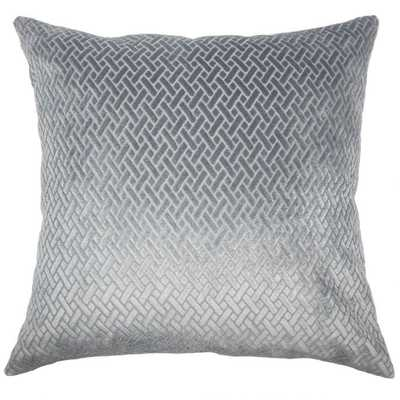 "Delora Solid Pillow - Slate - 20"" x 20"" - with down insert - Linen & Seam"