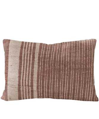 Faded Line Lumbar Pillow, Rust - Includes Down Insert - High Street Market