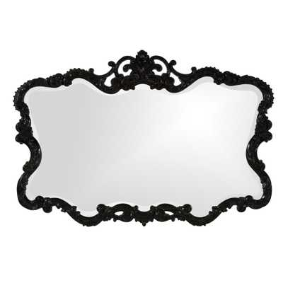 27 in. x 38 in. Vanity Glossy Black Framed Mirror - Home Depot