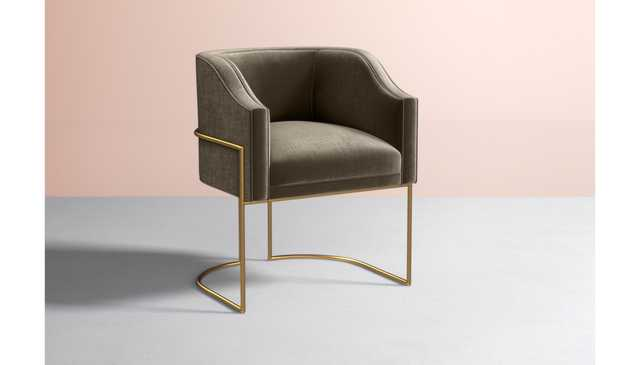 Caddell Dining Chair - Slub Velvet in Taupe - Metal in Brass - Anthropologie