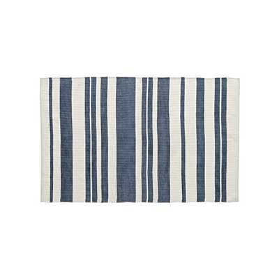 Barcode 5x8' Blue Striped Rug - Crate and Barrel