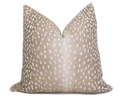 "Antelope Pillow Cover - Fawn White Linen, 20""x 20"", No Insert - Willa Skye"