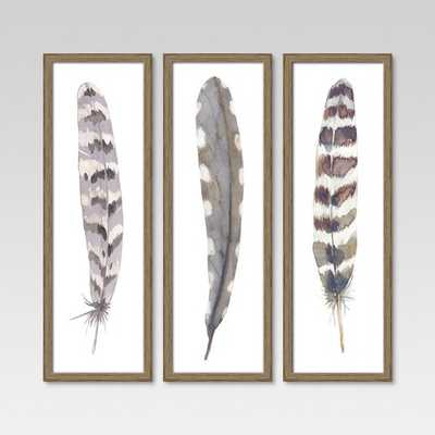 "12""X36"" Framed 3-Pack Feathers - Threshold - Target"