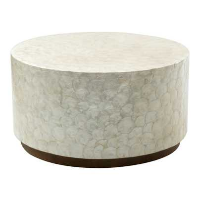 East At Main Rowden Wood and Capiz Round Coffee Table - Hayneedle