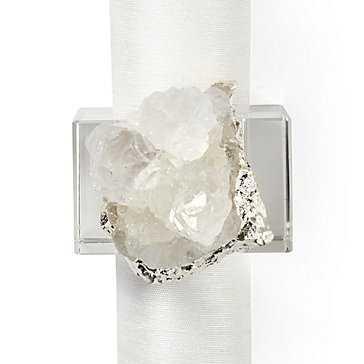Geode Napkin Rink- Set of 4 - Silver - Z Gallerie