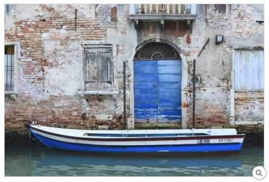 "BOAT AND BLUE DOOR. VENICE. VENEZIA PROVINCE. VENETO. ITALY - 54""x36"" Canvas - art.com"