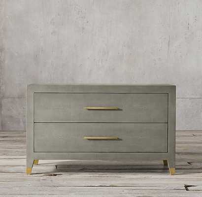 GRAYDON SHAGREEN WIDE CLOSED NIGHTSTAND-Fog Shagreen & Solid Burnished Brass - RH