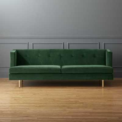 Avec Emerald Green Sofa with Brass Legs - CB2