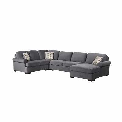 TANYA GREY FABRIC 4 PIECE SECTIONAL - Abbyson Living
