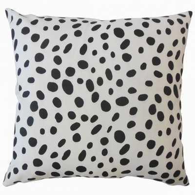 Ibson Polka Dot Pillow Black- 18 X 18 DOWN INSERT - Linen & Seam
