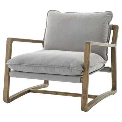 Antonia Rustic Lodge Grey Pillow Brown Wood Living Room Arm Chair - Kathy Kuo Home