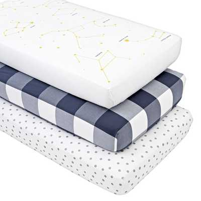 Genevieve Gorder Organic Crib Fitted Sheets, Set of 3 - Crate and Barrel