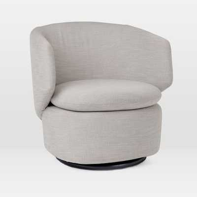 Crescent Swivel Chair, Basket Slub, Feather Gray - West Elm