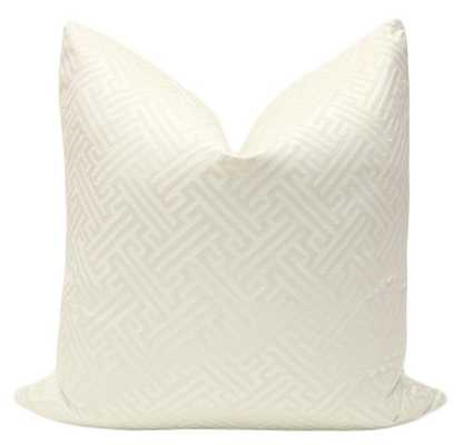 "Grecian Key // Alabaster, 18"" Pillow Cover - Little Design Company"