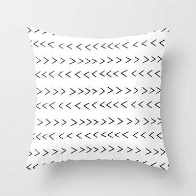"linocut Mudcloth grey and white minimal modern chevron, 20"" Indoor Pillow - Society6"