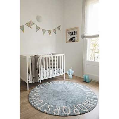 Lorena Canals Vintage ABC 5' Round Area Rug in Blue/Natural - Buy Buy Baby