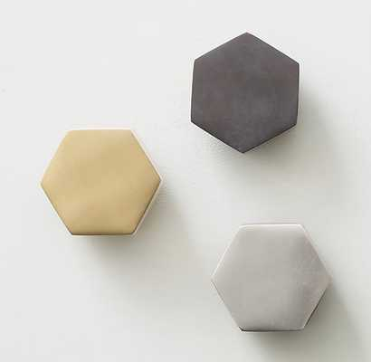 CAST-METAL HEXAGON WALL HOOK - BRASS - RH Teen