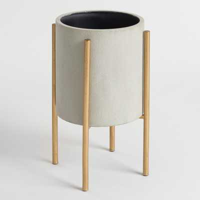 Large Gray Planter with Brass Stand by World Market - World Market/Cost Plus