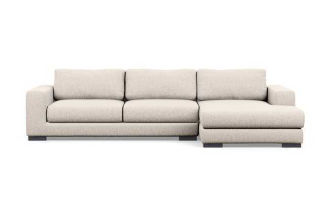 Henry Chaise Sectional in Wheat Fabric with Matte Black legs - Interior Define