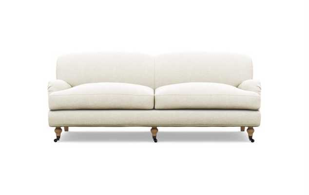 Rose by The Everygirl Sofa in Vanilla Fabric with White Oak with Antiqued Caster legs - Interior Define