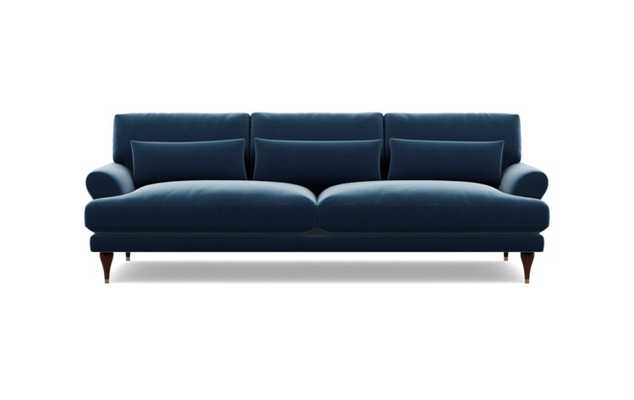Maxwell Sofa in Sapphire Fabric with Oiled Walnut with Brass Cap legs - Interior Define