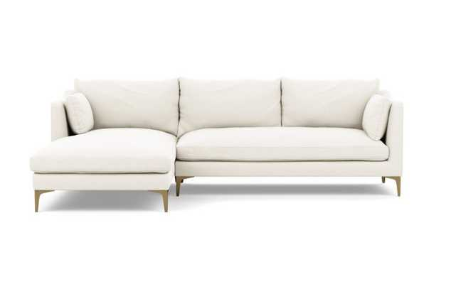 Caitlin by The Everygirl Chaise Sectional in Ivory Fabric with Brass Plated legs - Interior Define