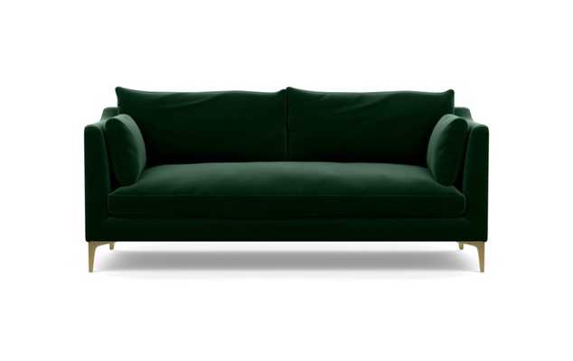 Caitlin by The Everygirl Sofa in Emerald Fabric with Brass Plated legs - Interior Define