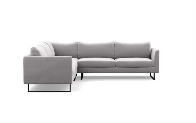 Owens Sectionals with Corner Sectionals in Ash Fabric with Matte Black legs - Interior Define
