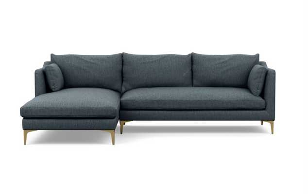 Caitlin by The Everygirl Chaise Sectional in Rain Fabric with Brass Plated legs - Interior Define