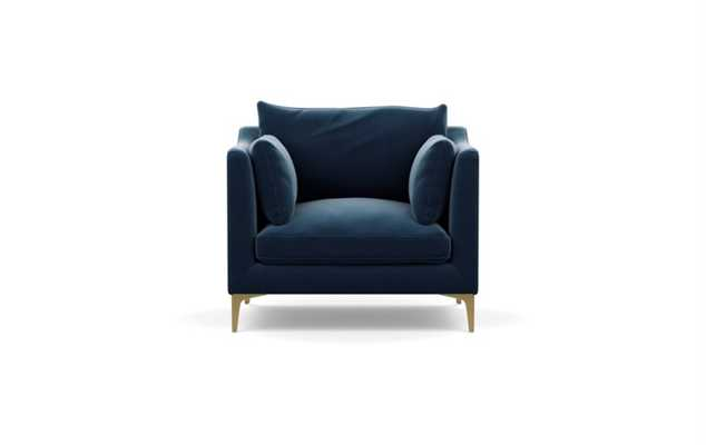 Caitlin by The Everygirl Chairs in Sapphire Fabric with Brass Plated legs - Interior Define