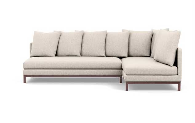 Jasper Chaise Sectional in Wheat Fabric with Oiled Walnut legs - Interior Define
