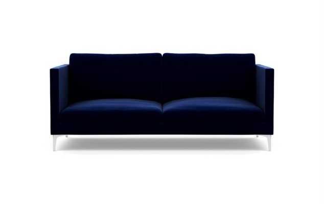 Oliver Sofa in Oxford Blue Fabric with Chrome Plated legs - Interior Define